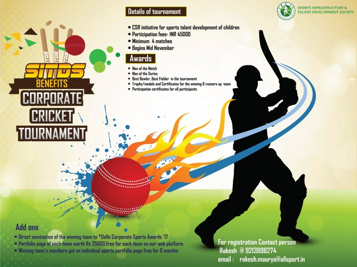 Invitation For Corporate Cricket Tournament: Invitation For SITDS Benefit Corporate Cricket Tournament