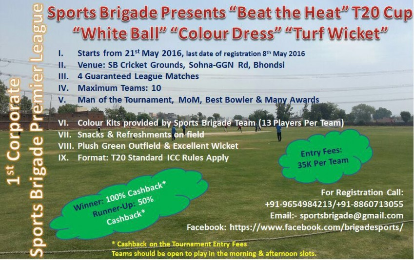Invitation For Corporate Cricket Tournament: Corporate Cricket Delhi/NCR